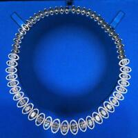 """Platinum Sterling Silver White Sapphire Graduated Oval Halo Tennis Necklace 16"""""""