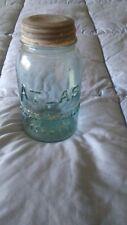 Vintage Atlas Strong Shoulder Mason Blue Quart Canning Jar with Lid
