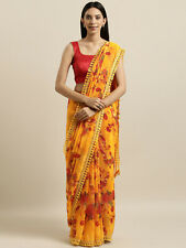 Mustard Yellow & Red Printed Bollywood Saree Party Wear Wedding Designer Sari