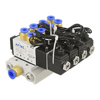 4V110-06 DC12V 2 Position 5 Way 4 Solenoid Valve Connected Base Muffler