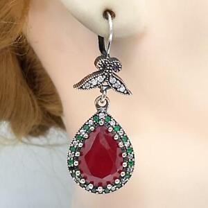 Deco 16.00ctw Ruby, Emerald & Diamond Cut Sapphire 14K Yellow Gold 925 Earrings