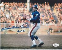 Y.A. Tittle FULL NAME Signed Autographed Color 8x10 Photo W/ HOF 71 JSA Limited