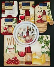 Kitchen Linen Placemats Stove Top Covers 'Wine' & Cheese Theme, Select: Item(s)