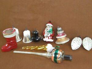 Antique Vintage Christmas Tree Lot Mercury Glass Topper Santa Claus Ornaments ++