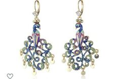 Betsey Johnson Peacock Dangle Drop Bird Pierced Rhinestone Earrings Org45