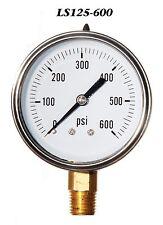 New Hydraulic Liquid Filled Pressure Gauge 0-600 PSI