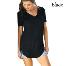 Plus Size Womens V Neck Casual Short Sleeve Long Tee T Shirt Blouse Loose Tops