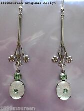 Art Nouveau Art Deco earrings Edwardian earrings frosted glass vintage style