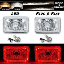 4X6 Red Halo Angel Eye H4 Crystal Clear Headlight Headlamp w/ 6k LED Bulb Pair