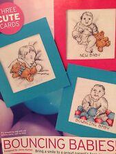 Bouncing BABY, NEONATO carte Cross Stitch grafici e guida di cotone