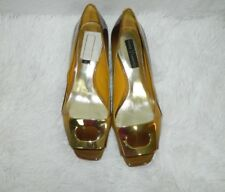 Vince Camuto Shoes Flats Patent Leather Ombre Brown Big Buckle  Size 8M