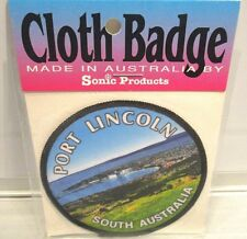 Port Lincoln Vintage Cloth Badge. Sonic Products Souvenir Badge.