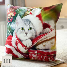Luxury Soft Velvet Festive Christmas Cushion Cover Cute Cat Kitten Winter