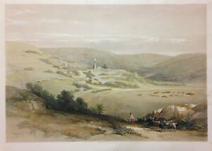 NAZARETH 1844 DAVID ROBERTS ANTIQUE VERY LARGE LITHOGRAPHIC VIEW 19e CENTURY