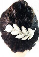 USA HAIR PIN Clip CZ Crystal Swarovski ELM Cubic Zirconia Bridal PLANTINUM pearl