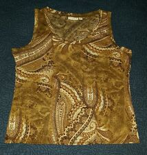 SUSAN GRAVER FOR WOMEN BROWN SHEER PAISLEY TANK TOP SIZE XL EUC