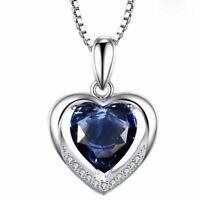 925 Sterling Silber Halskette Herz Anhänger Kristall Herz Damen Schmuck Geschenk