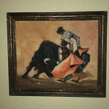 Mid Century Bullfighting Painting Signed By Artist Bullfight Torero Framed Art 1