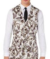 INC Mens Suit Seperates Beige Size Medium M Slim Fit Linen Vest Floral $59 048