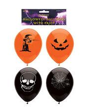 15 Orange & Black Halloween Party Balloons Decoration Witch Skull Spider Pumpkin