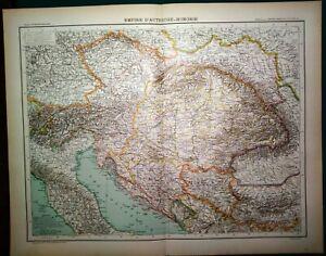 Carta geografica antica IMPERO d' AUSTRIA - UNGHERIA 1891 Old antique map