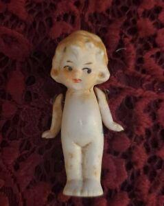 "Vintage German Frozen Charlotte All Bisque Miniature Doll Marked 912 Cute 2.5"""
