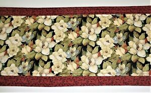 """SALE-WAS-$23-Hand Made Creamy White Magnolias Table Runner-11x42""""-Reversible"""