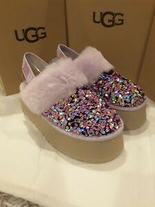 New in box Ugg Women's Funkette Stellar Sequin Sandal Women's size 8 Lilac Frost