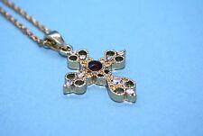 Halskette mit Anhänger Modell goldenes Kreuz mit Magnet Magnetschmuck Kette
