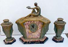 LIMOUSIN RARE PENDULE ET GARNITURE ART DECO EP.1925 CLOCK
