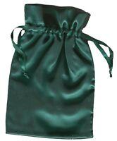 "Satin Jewelry Bag 6"" x 9"" Forest Green Drawstring Tarot Rune Unlined"