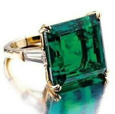 30 tcw Green Asscher Baguette 925 Sterling Silver Women Ring Cocktail Party