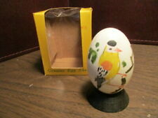 Decorative Real Egg on Wood Stand - Hand Painted Gold Finch - Price Imports Iob