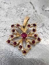 Rubin Diamant Brosche Mit Brillanten Brillianten Und Rubinen 750 Weißgold Nade* Uhren & Schmuck Broschen & Anstecknadeln