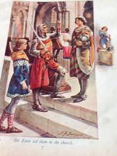 ephemera 1900 Victorian Book Plate Sir Ector Led Them To Church g1l