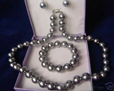 Wedding Noblest 9-10 MM Stunning Grey Southsea shell Pearl Necklace Sets