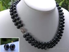 9-10mm AA Grade Twin Strand BLACK Cultured Pearl Set - 925 SOLID Silver