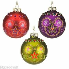New Disney Mickey Bohemian Glass Bulb Ornament Set 3 Piece Parks Exclusive