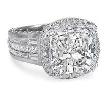 5.68 Ct Cushion Cut Diamond Halo Engagement Ring Invisible Set Diamonds 18K Gold