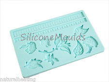 Turquoise FLORAL Silicone Cake Decoration Sugarpaste Fondant Bakeware Push Mould