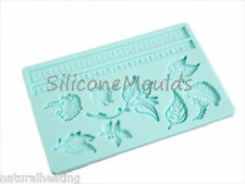 Turquoise FLORAL Silicone Cake Decoration Sugarpaste Fondant Bakeware Push Mould