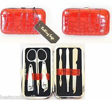 6 PIECE TRAVEL NAIL KIT SET RED FAUX CROC PATENT CLIPPERS+SCISSORS+FILE+TWEEZERS