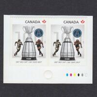 Football CFL GREY CUP = OVERPRINT BKLT Pair w/Colour Marks MNH Canada 2012 #2598