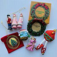 AVON Lot of 8 Vintage Christmas Ornaments blue birds nutcracker tree wreath