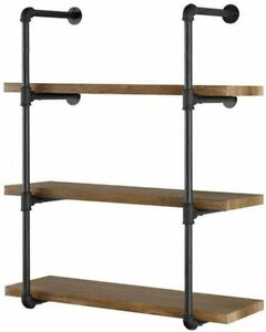 """Industrial Retro 2Pc 42"""" H 12"""" D 3/4"""" Wall Mount Iron Pipe Shelf, Iron Pipe Only"""