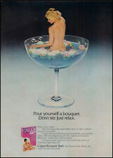 1975 Woman Bathing in champagne glass Calgon bouquet retro photo print ad ads21