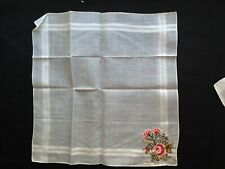 Antique Fine Vintage White Lady's Embroidered Linen Hankie SWITZERLAND PROM GIFT