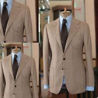 Business Men Suits Slim Fit Herringbone Coat Notch Lapel Blazer Tuxedos Tailored