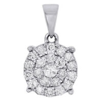 10K White Gold Diamond Circle Pendant Ladies Cluster Charm 0.75 CT.