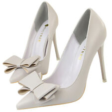 Women Pumps Pointed Toe PU Sweet Bow Stilettos High Heel US 7= CN 38 Gray